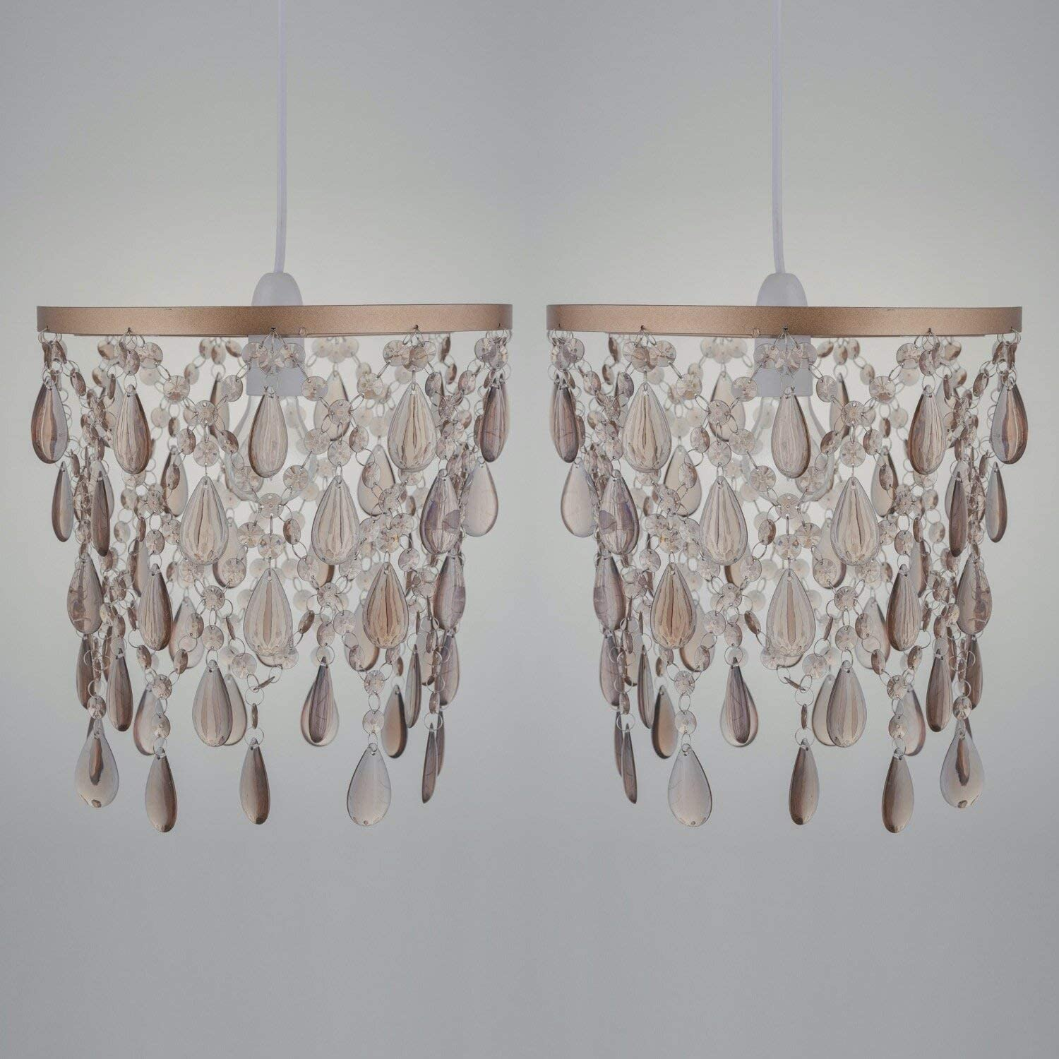 Pair Of Rose Gold Acrylic Crystal Light Shades Easy Fit Ceiling Light Shades Modern Jewelled Bedroom Light Shade No Wiring Required Height 28 Cm Diameter 28 Cm Amazon Co Uk Lighting