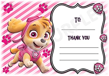 Paw Patrol Thank You For Coming Party Cards Skye Pink