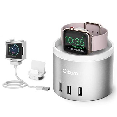 Oittm Apple Watch Series 3 Stand [3 in 1 Bracket Power Dock] 4-Port USB Fitbit Blaze Charging Stand with Phone Holder for iPhone X, iPhone8, 8 Plus, 7, 7 Plus, 6 Plus, iWatch 3/2/1 (Silver)