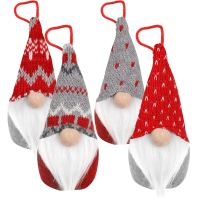 D-FantiX Gnome Christmas Ornaments Set of 4, Handmade Swedish Tomte Gnomes Plush Scandinavian Santa Elf Table Ornaments Christmas Tree Hanging Decoration Home Decor