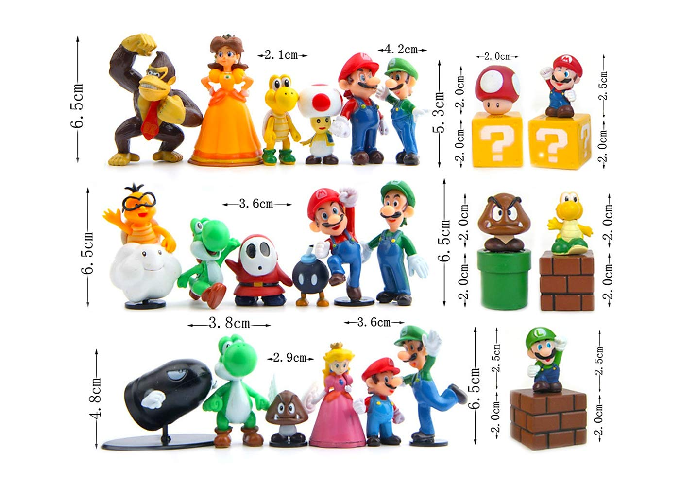 Mario Brothers Toys Multiple Characters Mario Bros Figurines Detailed Design Pantshop Super Mario Action Figures Set Of 23 Mario Pvc Toy Figures For Kids Adults Premium Cake Toppers Toys Games