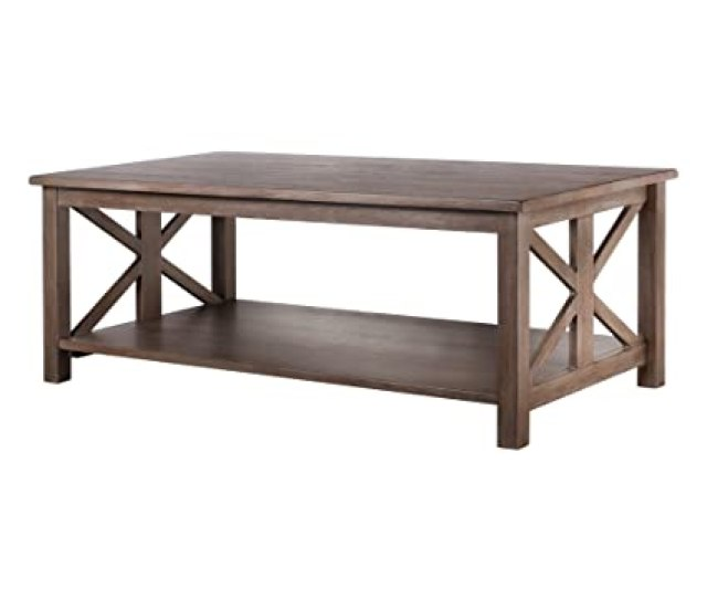 Amazon Com Vibrant Furnishings Farmhouse Style Coffee Table Solid Wood Rustic East End Collection Living Room Furniture Kitchen Dining
