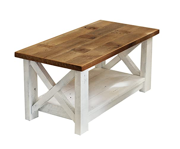 Amazon Com Farmhouse Coffee Table With White Base X Made From Reclaimed Wood Handmade