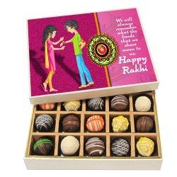 Chocholik Rakhi Gift Box – we Will Always Remember – Dark, Milk, White Chocolate Truffles – 20pc
