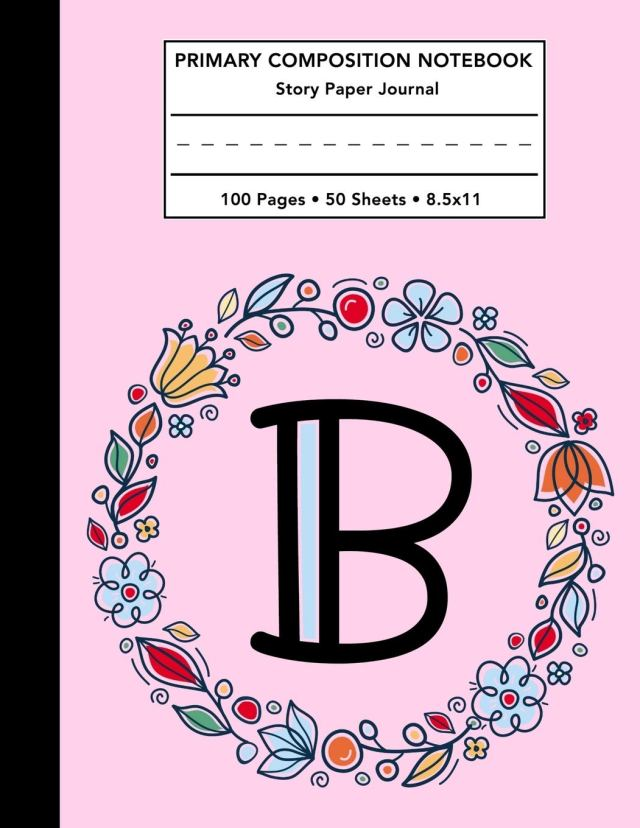 Primary Composition Notebook: Letter B Monogram Initial Pink