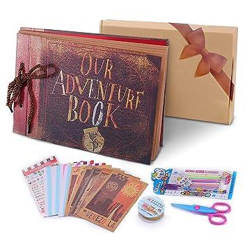 Pootack Album Fotografico Fai Da Te Our Adventure Book Scrapbook Diy19x30cm 80 Pagine Con Penne Colorate Forbici Fascia Decorativa In Pizzo