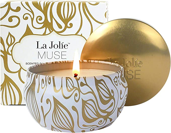 LA JOLIE MUSE Aromatherapy Scented Candles - Vanilla Coconut Essential Oil Soy Wax Stress Relief Candle, 6.5 Oz Travel Tin Decorative Candle, Winter Relaxing Candle Gift for Christmas