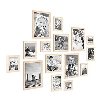 Photolini 15er Set Bilderrahmen Modern Sonoma Eiche Hell Massivholz 10x15 Bis 20x30 Cm Inklusive Zubehör Zur Gestaltung Einer Collagebildergalerie