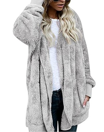 ASSKDAN Women's Fuzzy Velvet Open Front Loose Fitting Long Jacket Coat with Hood (S, Grey)