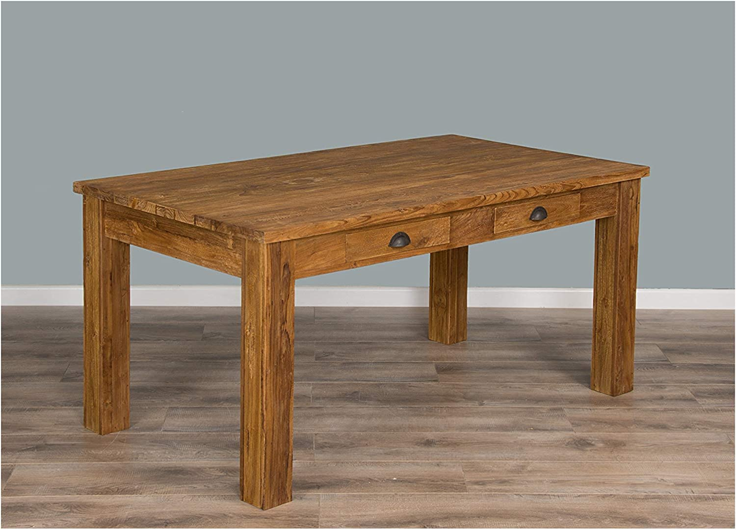 Inspiring Furniture Ltd 2m Rustic Recycled Teak Dining Table With Drawers 160cm X 90cm Amazon Co Uk Kitchen Home