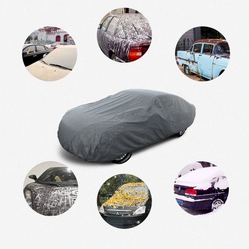 Red car covered with a Leader Accessories Basic Guard car cover