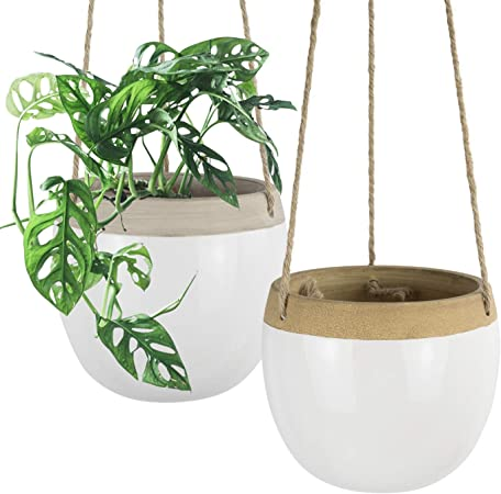 Amazon Com Ceramic Hanging Planters Plant Pots 5 5 Inch White Indoor Hanging Pots Modern Plant Holder With Jute Rope For Succulents Cactus Herbs Small Plants Home Decor Gift Set Of 2 Garden