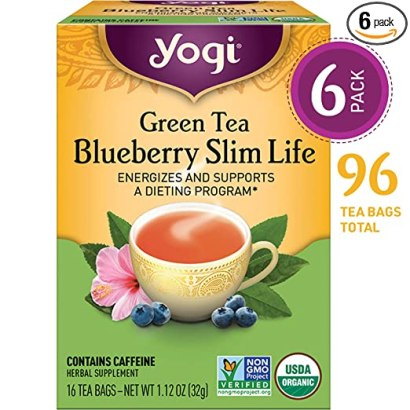 Yogi Tea - Green Tea Blueberry Slim Life - Energizes and Supports a Dieting Program - 6 Pack, 96 Tea Bags Total