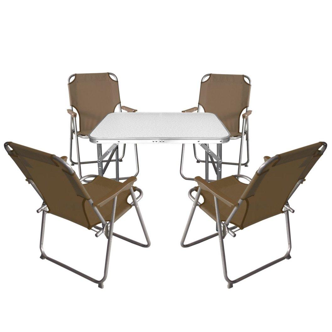 5tlg. Campingmöbel Set Klapptisch, Aluminium, 55x75cm + 4x Campingstuhl, braun / Strandmöbel Campinggarnitur Gartenmöbel