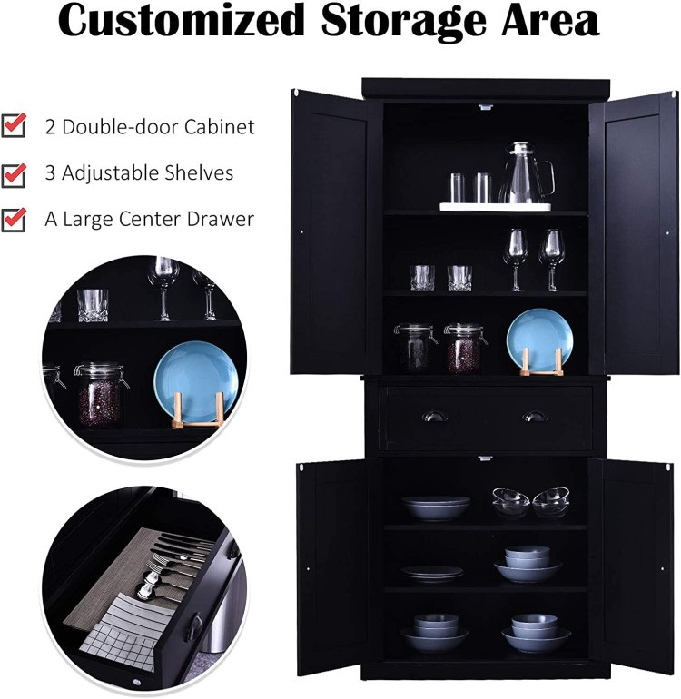 Amazon Com Homcom 72 Traditional Freestanding Kitchen Cupboard Pantry Cabinet With 2 Cabinet And Adjustable Shelves Black Furniture Decor