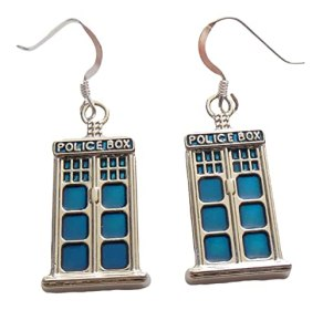 Blue Police Box Earrings .925 Sterling Silver Earwires 1-1/2 Inch In Gift Box with Tardis Blue Bag