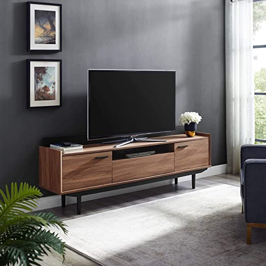 Amazon Com Modway Visionary 70 Mid Century Modern Low Profile Entertainment Tv Stand In Walnut Black Furniture Decor