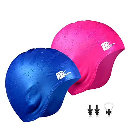 Wigoo Long Hair Swim Cap 2 Pack, 2019 Thicker Design, Waterproof Silicone Swimming Cap for Adult Woman and Men(Blue+Pink)