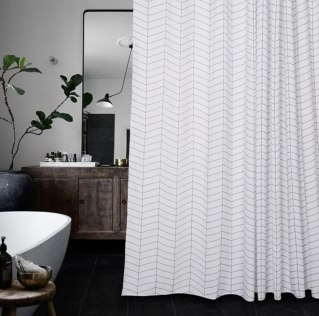Aimjerry Waterproof Striped Fabric Shower Curtain
