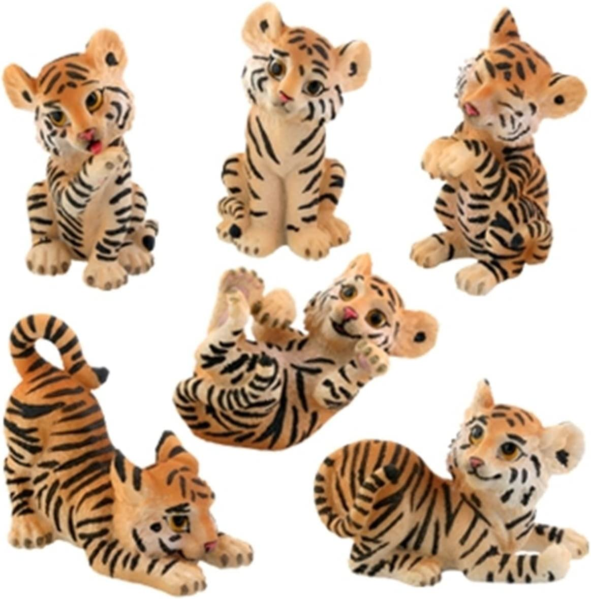 Amazon Com Cute Tiger Cubs Statue Figurines Set Of 6 Collection Home Kitchen