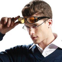 Duco Myopia Night Vision Glasses Wraparound HD Prescription Glasses Night Driving Polarized 8953Y Common Size Black