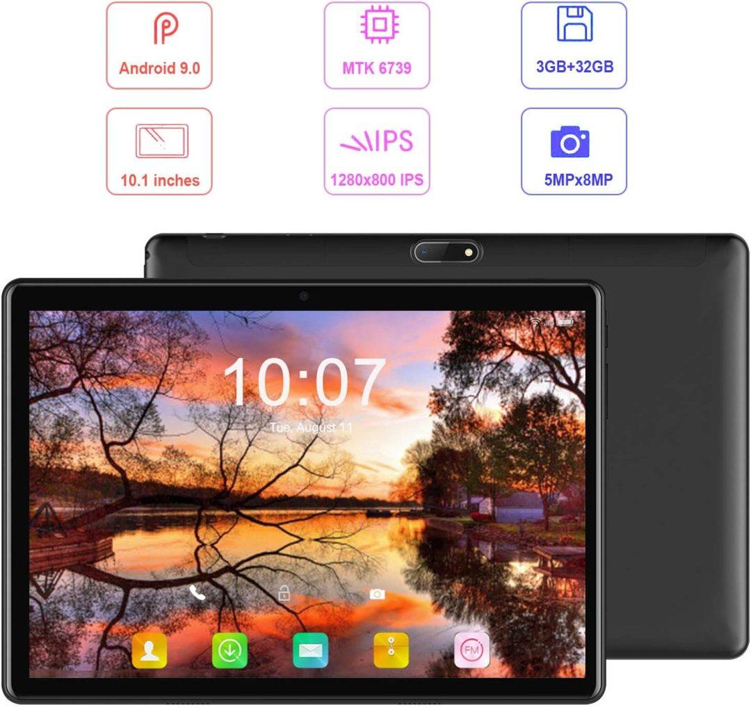 Tablette Tactile 10.1 Pouces 4G WiFi Tablettes avec Android 9.0 DUODUOGO G10 32Go ROM et 3Go de RAM 8500mAh Tablette PC Portable Pas Cher Quad Core Double SIM Double Caméra BT OTG GPS (Noir)