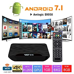 TV Box Android 7.1 - VIDEN W1 Smart TV Box Dernière Amlogic S905X Quad-Core, 1Go RAM & 8Go ROM, 4K UHD H.265, USB, HDMI, WiFi Lecteur Multimédia pour Divertissement à Domicile[Version améliorée]
