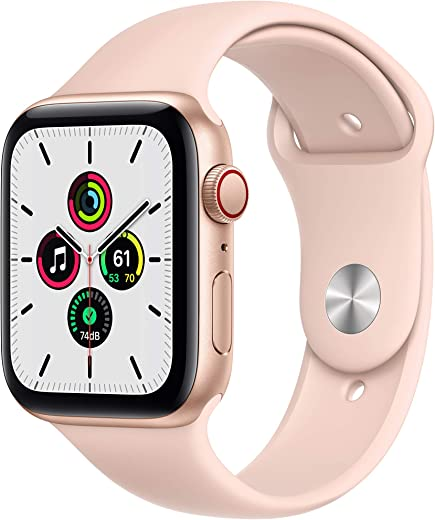 New Apple Watch SE (GPS + Cellular, 44mm) - Gold Aluminum Case with Pink Sand Sport Band