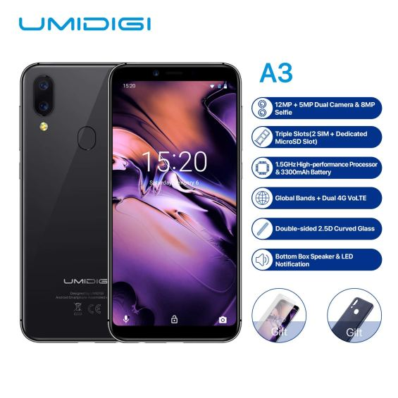 Spezifikationen - Umidigi A3 Low Budget Smartphone