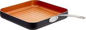 "Gotham Steel Grill Pan – 10.5"" Square Aluminum Grill Pan with Nonstick Surface, Sear Ridges and Stainless Steel Handle, Dishwasher and Oven Safe"