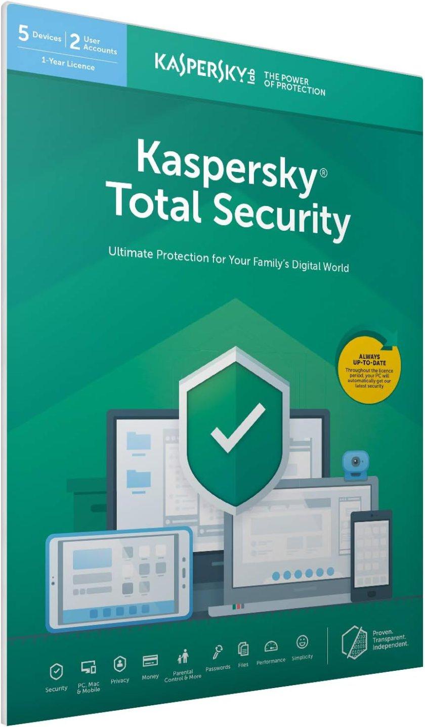 Kaspersky Total Security 2019   5 Dispositivos   1 Año   PC / Mac / Android   Código Dentro De Un Paquete