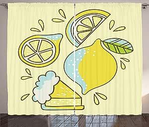 LULUZXOA Lemonade Curtains, Childish Pattern of Whole and
