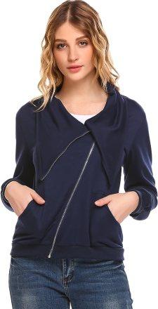 Zeagoo Women's Oblique Zipper Funnel Neck Cotton Slim Fit Jacket Coat with Pocket