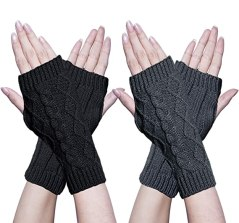 Image result for Oryer Womens Winter Knit Long Fingerless Gloves Thumbhole Arm Warmers Mittens