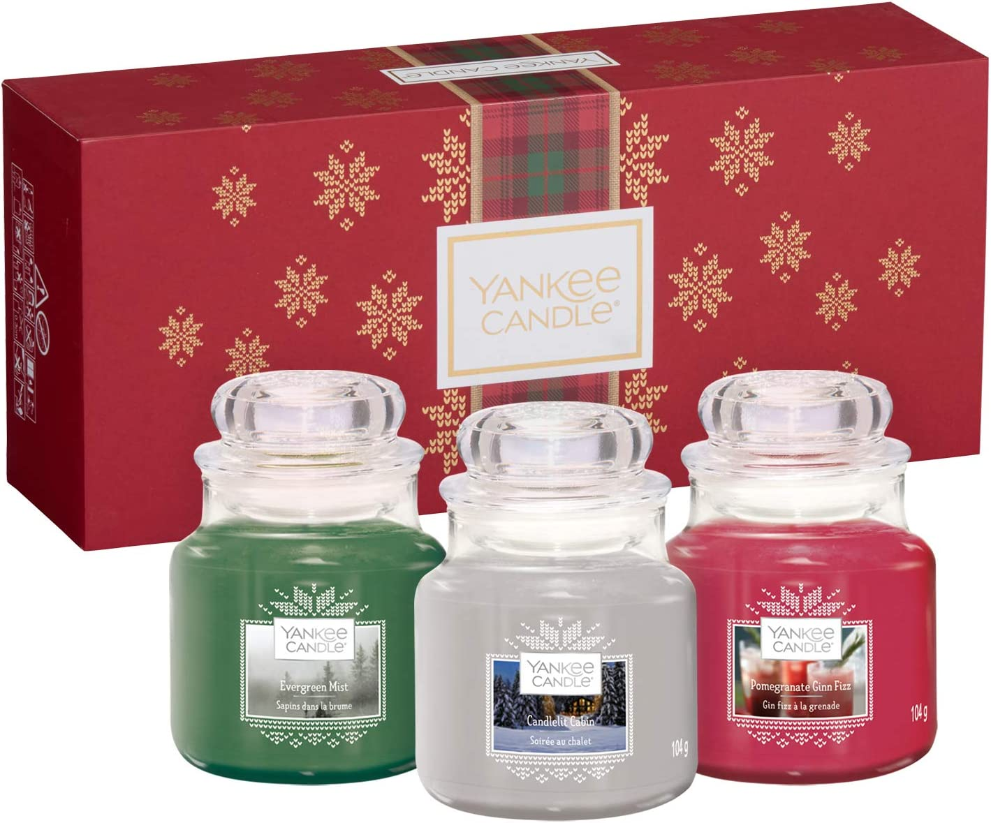 Yankee Candle Gift Set With 3 Small Jar Scented Candles Alpine Christmas Collection Festive Gift Box Amazon Co Uk Kitchen Home