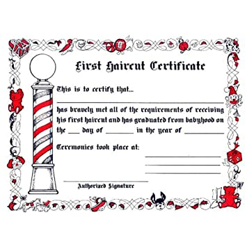 First Haircut Certificate Free Download