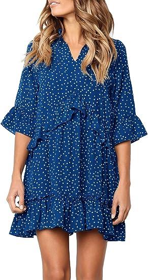 blue ruffle polka dot dress from amazon, beautiful summer dresses 2021