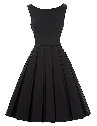 Belle Poque Audrey Hepburn 50s Vintage Black Cocktail Party Dress BP091(S)