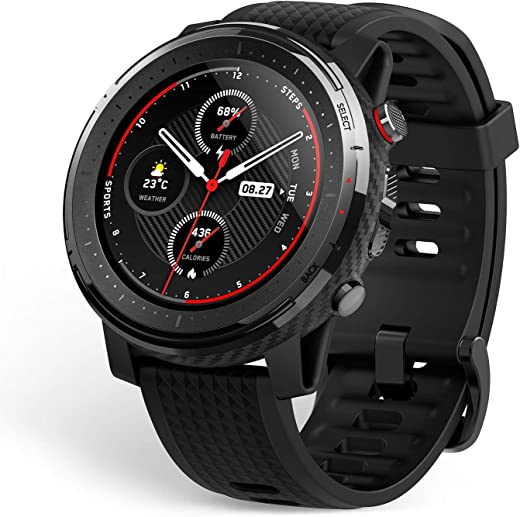 """Amazfit Stratos 3 Sports Smartwatch Powered by FirstBeat, 1.34"""" Full Round Display, 80-Sports Modes, Standalone Music Playback, GPS, Bluetooth, Water Resistant"""