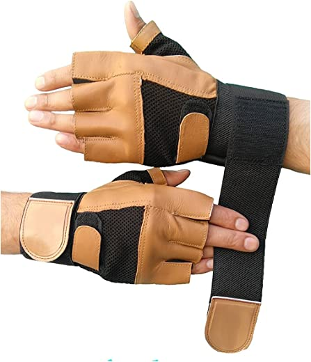 DreamPalace India Leather Gym Gloves with Wrist Support (Brown) Free Size