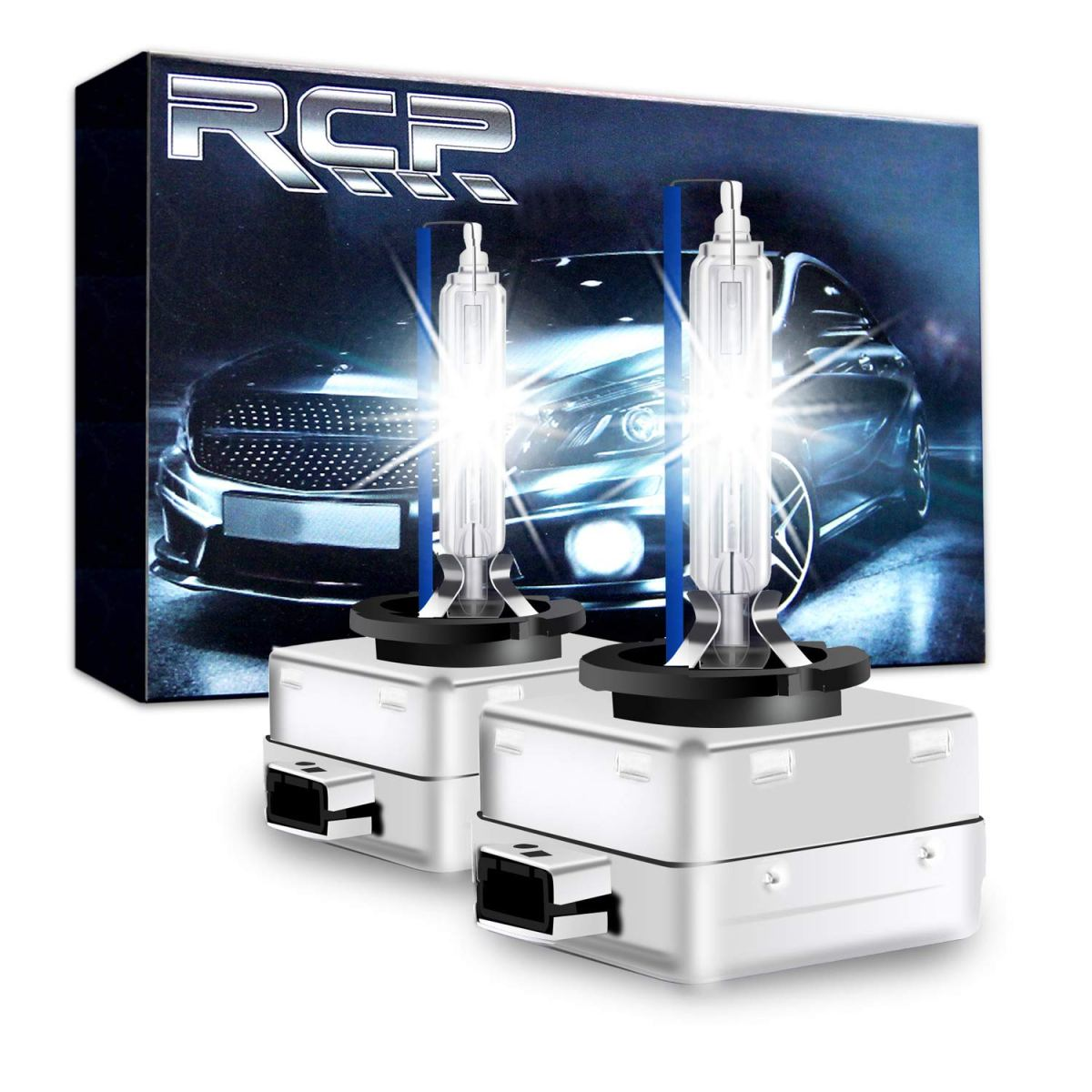 Best HID Headlight Kits RCP - D3S8 - (A Pair) D3S/ D3R 8000K Xenon HID Replacement Bulb Ice Blue Metal Stents Base 12V Car Headlight Lamps Head Lights 35W