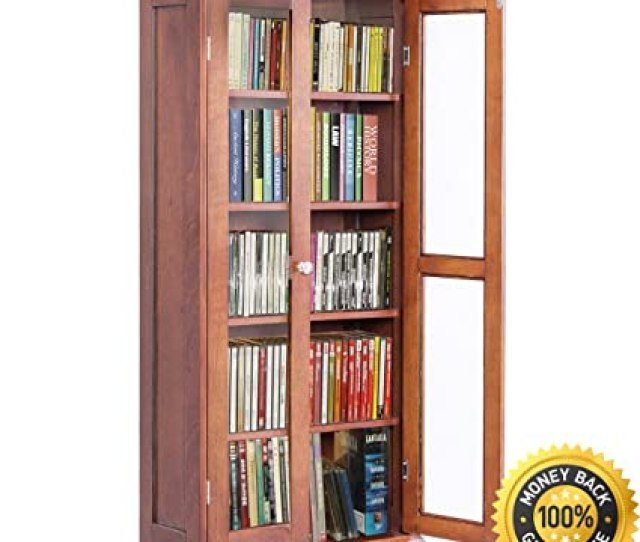 Colibrox 44 5 Wood Media Storage Cabinet Cd Dvd Shelves Tower Glass Doors Walnut