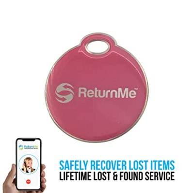 Smart Luggage ID Tags with Lifetime Global Recovery Service (Pink - 1 Pack)