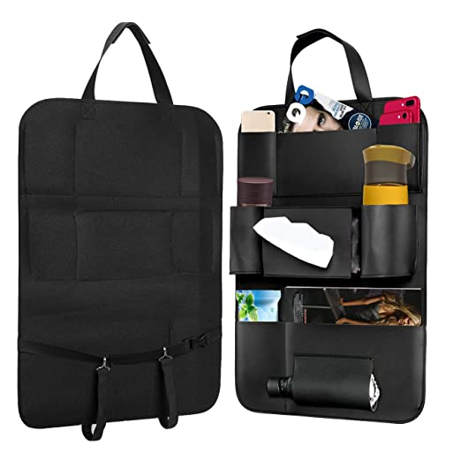Carmoni Seat Back Car Organizer Pu Leather Seat Back Kick Protectors for Kids, Storage Bottles, Tissue Box, Toys - Black