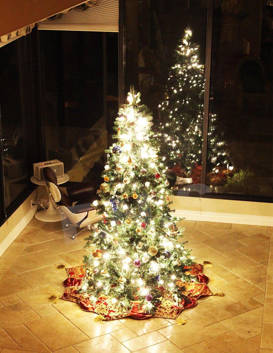 Christmas tree lighting tips - Balsam Classic Blue Spruce Artificial Christmas Tree 8 Ft Classic Evergreen Holiday Artificial Green Pre Lit Led Light Up Bulbs Mixed Pe