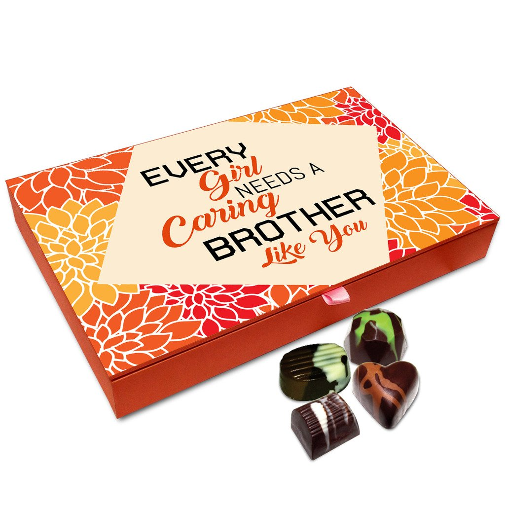 Chocholik Rakhi Gift Box – Every Girl Needs A Caring Brother Chocolate Box for Brother – 12pc