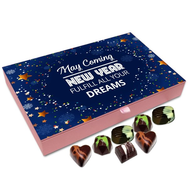 Chocholik New Year Chocolate Box – May This Coming New Year Fulfill All Your Dreams Chocolate Box – 12pc