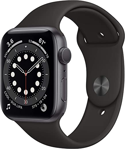 New AppleWatch Series 6 (GPS, 44mm) - Space Gray Aluminum Case with Black Sport Band