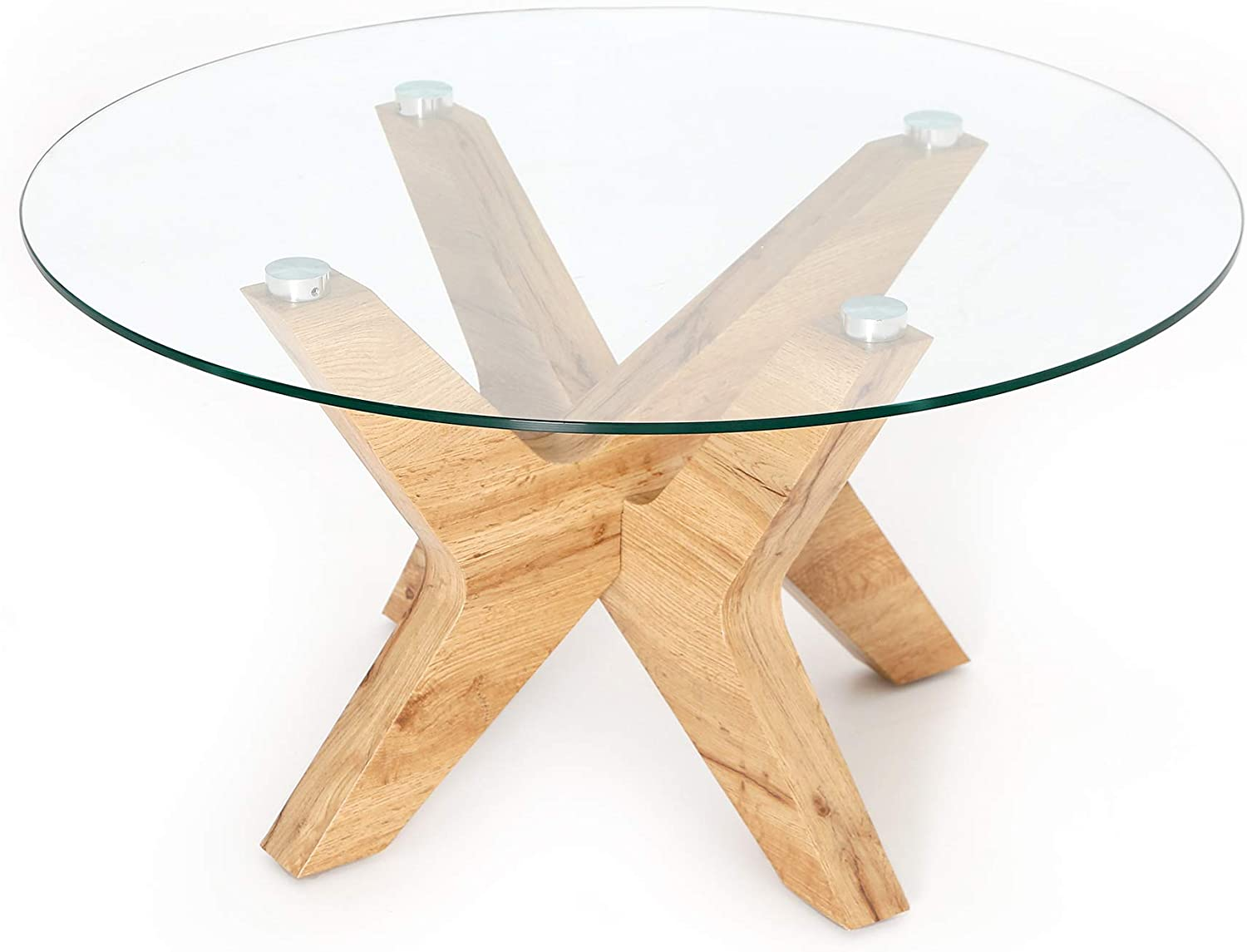 Amazon Com Ivinta Glass Coffee Table Round Industrial Design With Wood Frame For Living Room Home Dining Room 32inch Kitchen Dining