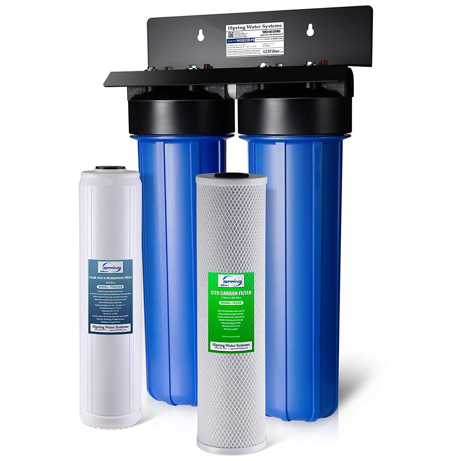 iSpring WGB22B-PB Lead Iron Chloride Reducing 2-Stage 80,000 Gal. Big Blue Whole House Water Filter
